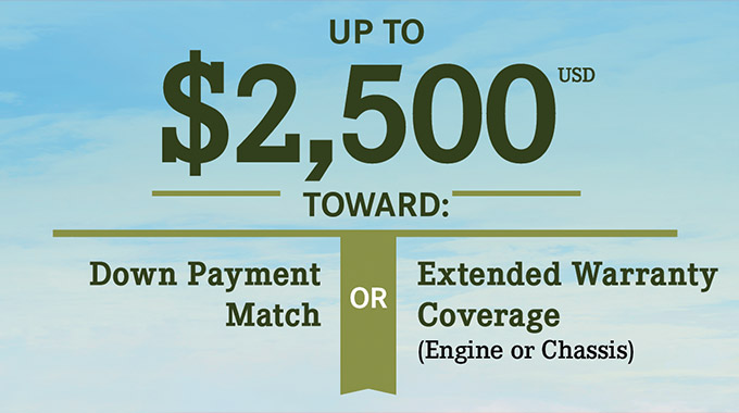Up to $2500 toward: Downpayment Match or Extended Warranty Coverage graphic